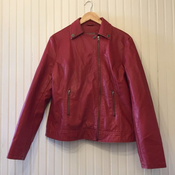 Ella B Red Faux Leather Biker Jacket L